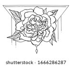vector graphics. peony on a... | Shutterstock .eps vector #1666286287