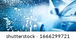 Car Wash wide banner. Washing Cars Backdrop washing with Copy Space panorama photo. Blue Colors. - stock photo