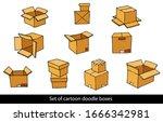 set of cartoon doodle boxes.... | Shutterstock .eps vector #1666342981