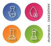 set line test tube and flask... | Shutterstock .eps vector #1666345444
