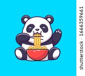 Cute Panda Eat Ramen Noodle...
