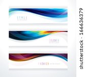 banner header set of wavy line... | Shutterstock .eps vector #166636379