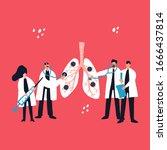 four doctors treat coronavirus... | Shutterstock .eps vector #1666437814