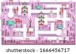 map pink sakura japanese theme...