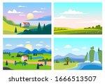set summer sunset seaside... | Shutterstock .eps vector #1666513507