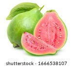 Isolated Guavas. One Whole...