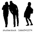 young man and woman walking... | Shutterstock . vector #1666541374