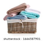 Towels In Basket Isolated On...