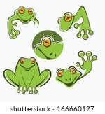 cute green tree frog cartoon... | Shutterstock .eps vector #166660127