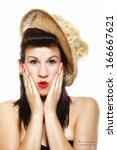 surprised woman face  beautiful ... | Shutterstock . vector #166667621