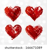 grunge heart collection. vector ... | Shutterstock .eps vector #166671089