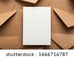 Blank White Card With Kraft...