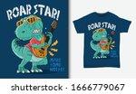 cool dinosaur rock star... | Shutterstock .eps vector #1666779067