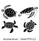Graphic Sea Turtle Vector...