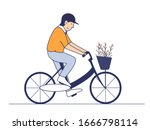 a man riding bike bring flowers ... | Shutterstock . vector #1666798114