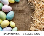 Easter Eggs On A Sackcloth And...