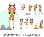 female mountain climber vector...   Shutterstock .eps vector #1666869571