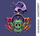 Zombie Girl Head Mascot Logo