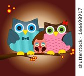 Funny Kawaii Owl Family Vector