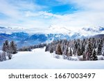 Alpine Ski Slope And Mountain...