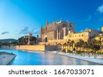 Panoramic view of Palma de Majorca, Mallorca Balearic Islands, Mediterranean Sea. Spain