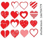 collection of hearts  vector... | Shutterstock .eps vector #166704779