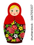 russian tradition matryoshka... | Shutterstock .eps vector #166705337