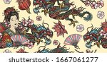 dragons and  hinese woman  fan  ... | Shutterstock .eps vector #1667061277