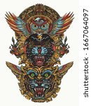 ancient totem. panther  tiger ...   Shutterstock .eps vector #1667064097