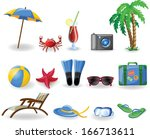 vacation and travel icons  | Shutterstock .eps vector #166713611