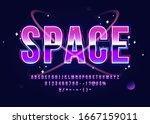 space alphabet retro futurism... | Shutterstock .eps vector #1667159011