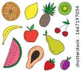 hand drawn fruit set. vector...   Shutterstock .eps vector #1667197054