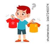 happy cute little kid boy... | Shutterstock .eps vector #1667240374