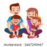 Happy Cute Family Mom Dad Son...