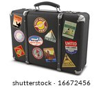 vintage suitcase with stickers | Shutterstock . vector #16672456