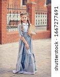 Girl Schoolgirl In Retro Dress...
