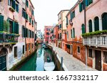 Scenic Canal In Venice  Italy....
