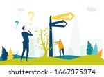 two way sign post and... | Shutterstock .eps vector #1667375374