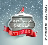 merry christmas background with ... | Shutterstock .eps vector #166740659