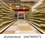 Empty Grocery Store Aisle With...