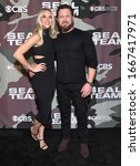 Small photo of LOS ANGELES - FEB 25: A.J. Buckley and Abigail Ochse arrives for �'Seal Team' Winter Premiere on February 25, 2020 in Hollywood, CA