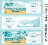 seaside resorts flat web banner ... | Shutterstock .eps vector #1667422771