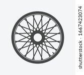bike wheel icon isolated on...