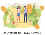 guy and girl are smiling and... | Shutterstock .eps vector #1667429917