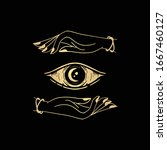 eye with hands  all seeing eye... | Shutterstock .eps vector #1667460127