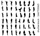silhouettes of people | Shutterstock . vector #166755065