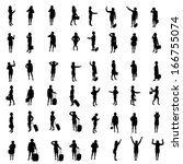 silhouettes of woman   Shutterstock . vector #166755074
