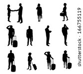 silhouettes of people | Shutterstock . vector #166755119