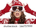 Woman With Ski Goggles Isolate...
