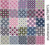 set of black and white seamless ... | Shutterstock .eps vector #166758971